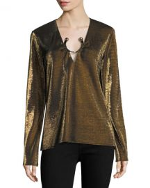 Haney Janelle Long-Sleeve Metallic Top with Golden Ring Hardware at Neiman Marcus