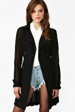 Hanna's black chiffon jacket on PLL at Nasty Gal