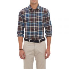 Hartford Plaid Herringbone Shirt at Barneys