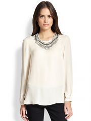 Haute Hippie - Detachable Embellished-Collar Silk Blouse at Saks Fifth Avenue
