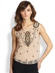 Haute Hippie - Embellished Silk Lace Top at Saks Fifth Avenue