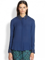Haute Hippie - Silk Open-Back Studded Shirt at Saks Fifth Avenue