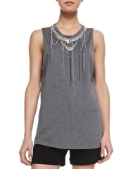Haute Hippie  Chain-Neck Muscle Tank Top at Neiman Marcus
