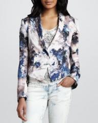 Haute Hippie Cropped Floral-Print Blazer at Neiman Marcus