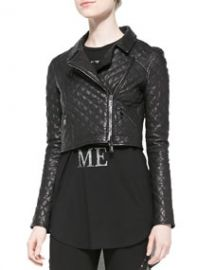 Haute Hippie Cropped Quilted Leather Moto Jacket at Neiman Marcus