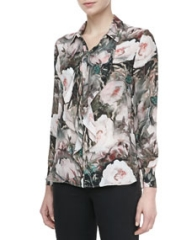 Haute Hippie Dream Floral-Print Silk Blouse at Neiman Marcus