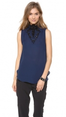 Haute Hippie Embellished Neck Blouse at Shopbop