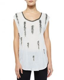 Haute Hippie Feather-Embellished Dagger Tee Swan at Neiman Marcus