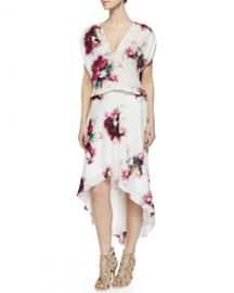 Haute Hippie Floral-Print Silk Drawstring Dress at Neiman Marcus