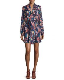 Haute Hippie Free Love Floral Silk Mini Dress  San Franciscan Night at Neiman Marcus