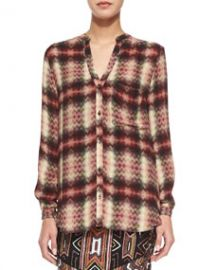 Haute Hippie Long-Sleeve Henley Top Tribal Chevron Plaid at Neiman Marcus