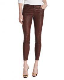 Haute Hippie Low-Rise Leather Skinny Pants Bordeaux at Neiman Marcus