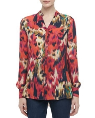 Haute Hippie Printed Silk Henley Blouse at Neiman Marcus