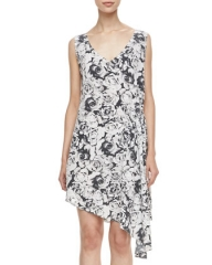 Haute Hippie Rose-Print Asymmetric Dress at Neiman Marcus