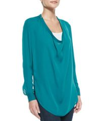 Haute Hippie Silk Cowl-Neck Blouse Med Blue at Neiman Marcus