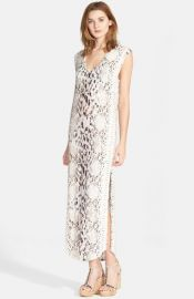 Haute Hippie Snake Print Long V-Neck Muscle Dress at Nordstrom