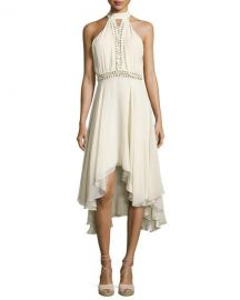Haute Hippie The Free Spirit Lace-Up Silk Dress  Antique White at Neiman Marcus
