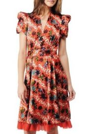 Hawaiian Floral on Charmeuse Short Sleeve Dress at Betsey Johnson