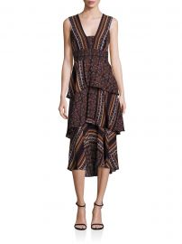 Hayley Scarf-Print Tiered Dress at Saks Off 5th
