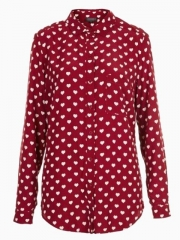 Heart print shirt at Choies