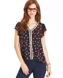 Heart print top at Macys