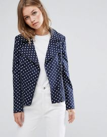 Helene Berman Polka Dot Biker Jacket at Asos