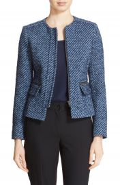 Helene Berman Zip Front Tweed Jacket at Nordstrom