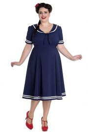 Hell Bunny Nautical Navy Sailor with Bow tie Ambleside Dress at Amazon