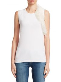 Helmut Lang - Feather Techno Cotton Jersey Tank Top at Saks Fifth Avenue