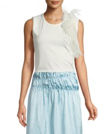 Helmut Lang Crewneck Sleeveless Cotton Tank with Feathers at Neiman Marcus