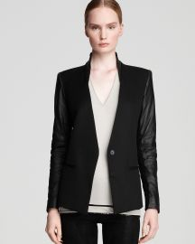 Helmut Lang Blazer Leather Sleeve at Bloomingdales