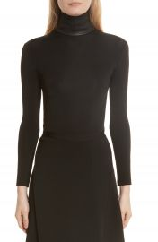 Helmut Lang Bondage Jersey Leather Neck Top at Nordstrom