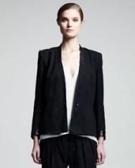 Helmut Lang Cove Leather-Trim Suit Jacket at Neiman Marcus