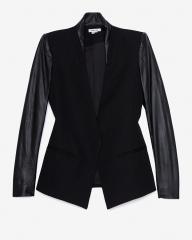 Helmut Lang Crux Leather Sleeve Jacket at Intermix