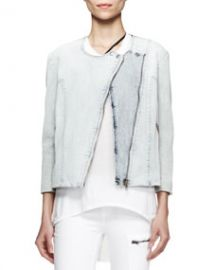 Helmut Lang Faded Denim Moto Jacket Sky at Neiman Marcus