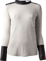 Helmut Lang Faux Leather Trim Jumper - Haven at Farfetch