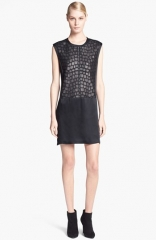 Helmut Lang Fractal Leather Detail Minidress at Nordstrom