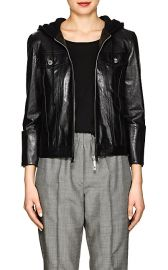 Helmut Lang Hooded Glazed Leather Jacket at Barneys