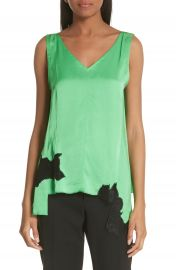 Helmut Lang Lace Inset Satin Tank Top at Nordstrom