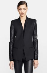 Helmut Lang Leather Sleeve Virgin Wool Blazer at Nordstrom