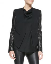 Helmut Lang Leather-Sleeve Wool Tuxedo Jacket at Neiman Marcus