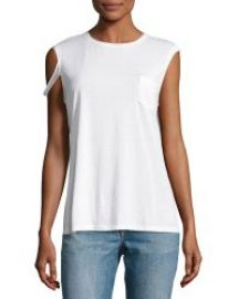 Helmut Lang Raw-Edge Pima Jersey Tee  White at Neiman Marcus