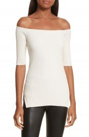 Helmut Lang Rib Knit Stretch Silk Off the Shoulder Top at Nordstrom