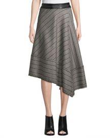 Helmut Lang Striped Basketweave Asymmetric Midi Skirt at Neiman Marcus
