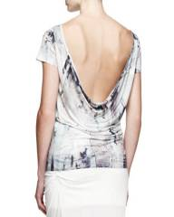Helmut Lang Tidal Printed Cowl-Back Top at Neiman Marcus