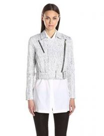 Helmut Lang Womenand39s Lightening-Wash Denim Moto Jacket at Amazon