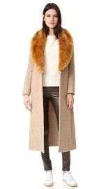 Helmut Lang Wool Coat with Faux Fur Collar at Shopbop