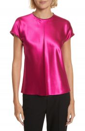 Helmut Lang Zipper Detail Lacquered Silk Top at Nordstrom
