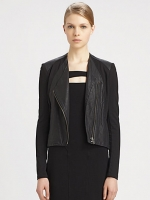 Helmut Lang washed leather panel jacket at Saks at Saks Fifth Avenue