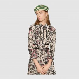 Herbarium Snake Silk Dress at Gucci